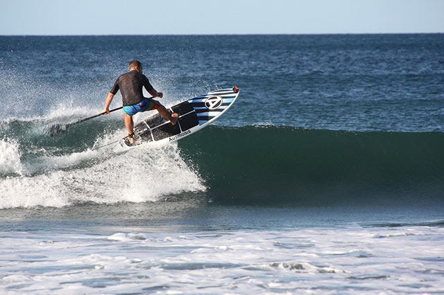 Zach Brajuha: Zach Brajuha taking advantage of blue skies and fun waves in Nicaragua. Photo by Jaq Raver