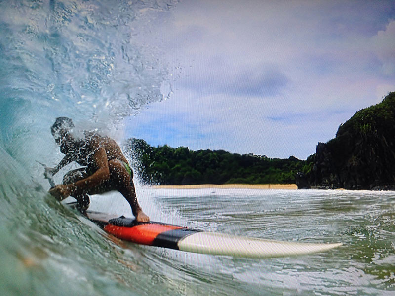 Arthur Jung: Coame Danião catching some waves in Fernando de Noranha Island, Brazil.