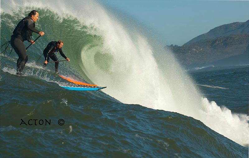 Denton Chase: SUP'ing with friends...Sharing waves is typically a no-no. Unless the waves are really small, really big or you are with friends. Denton Chase (blue board) and Ian Wallace (orange board) in Northern California.