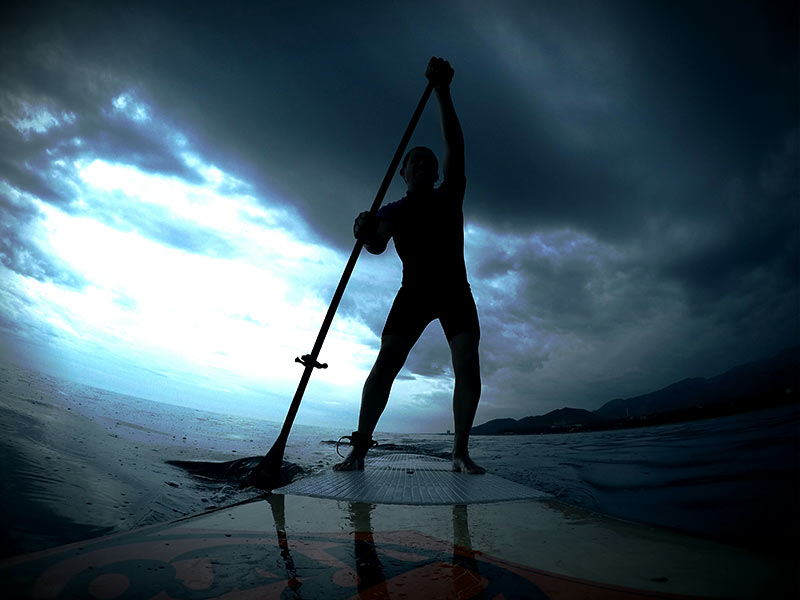 Javier Frauca: Sunset sup session last weekend, practicing before the storm!