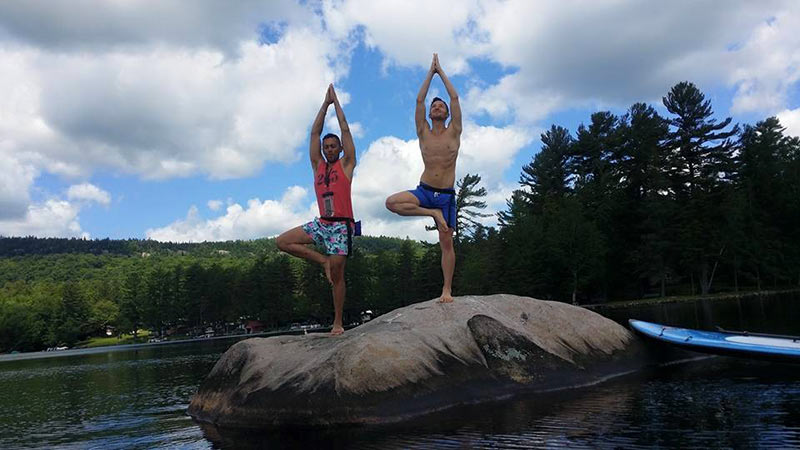 Christian Janowski: Enjoying a little Yoga during our paddle in the ADK.