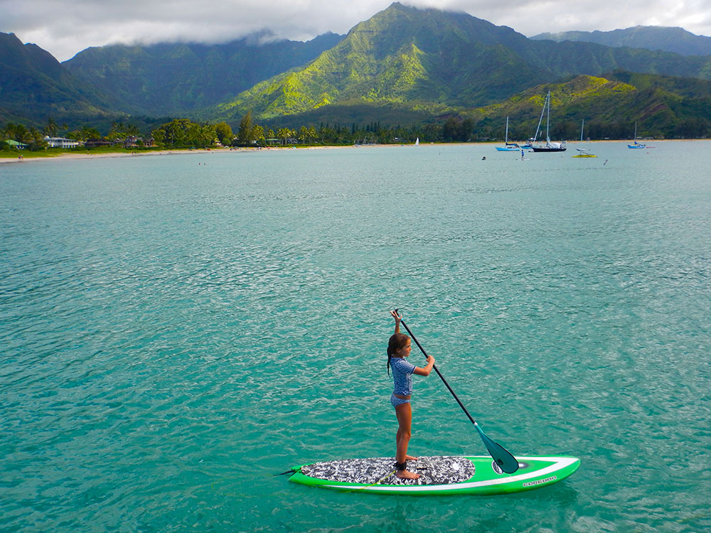 Emily Jean: Emily Jean from Australia , aged 7, stand-up paddling in Hanalei Bay (Kaua'i). Emily has been stand up paddling for 3 years and has natural form and core strength!