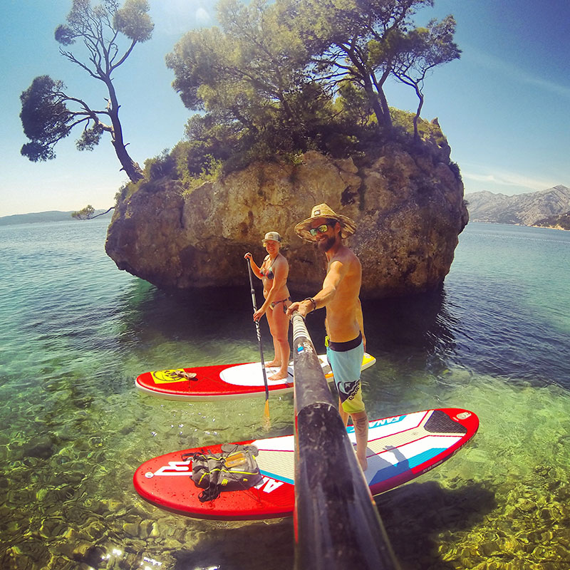 Jurgen Margreiter and Sybille Eder: There's nothing better than a Paddling Session with my Love on crystalclear Water like in Brela, Croatia.