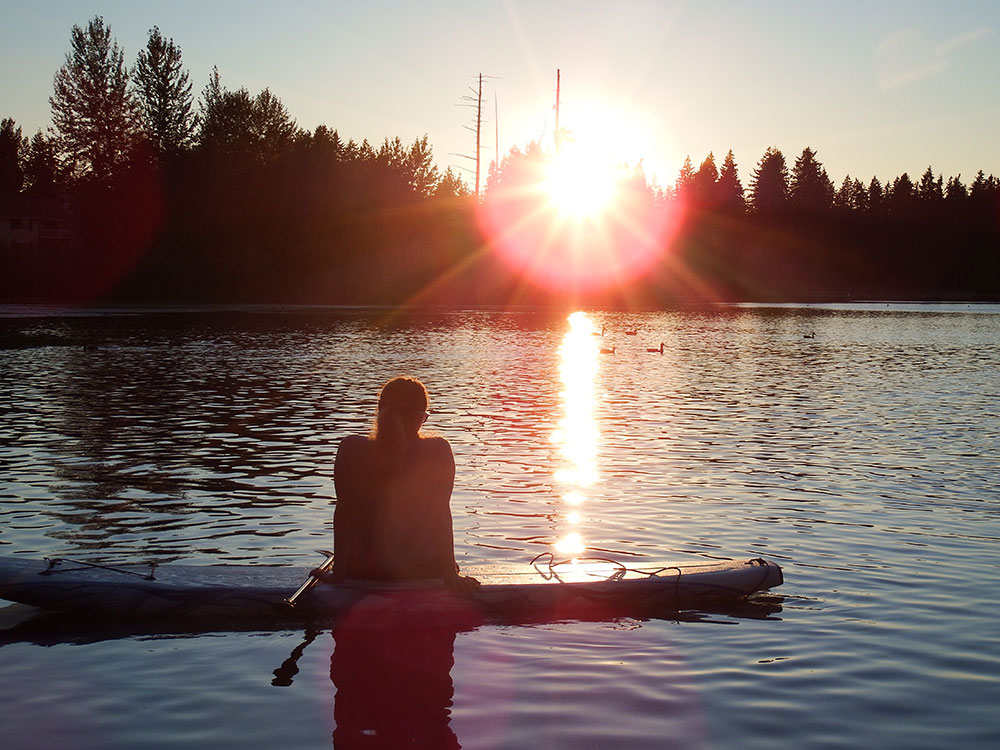Todd Johnston: Haeley Johnston of Everett, WA taking a moment to enjoy the sunset after being out on Silver Lake.