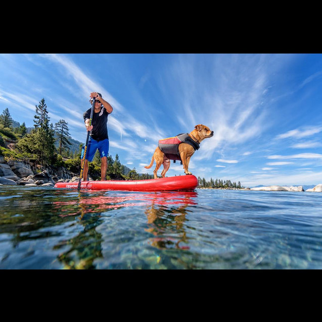 fluxphoto Mike T @rivershred and his faithful companion Shredder exploring the beautiful waters of Lake Tahoe.