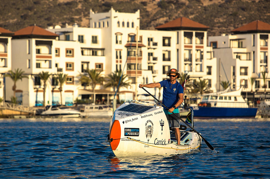 Chris Bertish launches his Transatlantic crossing for charity from Morocco.