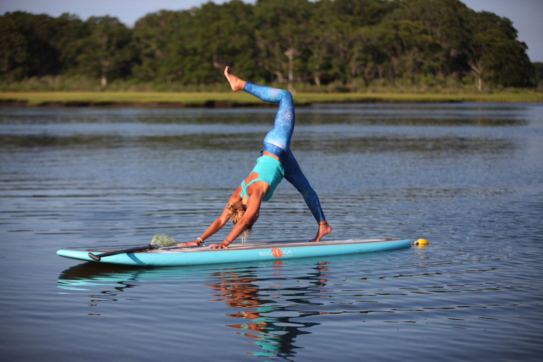Jessica Bellofatto sup yoga down dog split BOGA