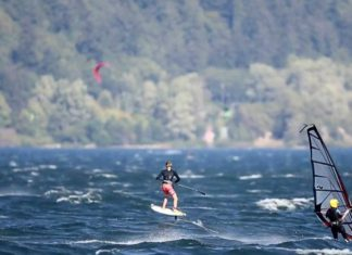 Sup Foil Sessions At The Gorge   Taking Flight On a Stand Up Paddleboard