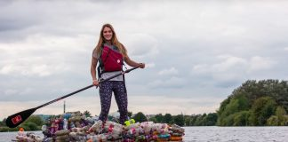 Why Is She Paddling a Raft Made Entirely From Plastic Bottles?