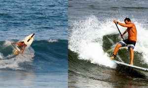 Jason Cole of Paddle Barbados demonstrates the backside paddle transition in surf