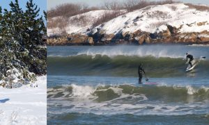 Travis Hayes winter sup surf ritual in New England