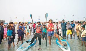 Stand up paddle Ganges River, Starboard, India