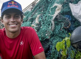 Kai Lenny Naish Hawaii ocean plastics Red Bull clean up banner
