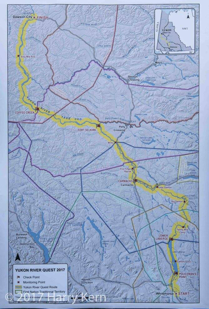 Yukon River Quest map of course on