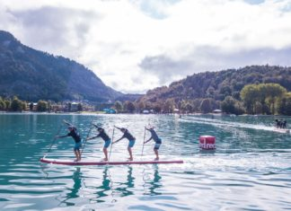 Dragon World Championships Lake Annecy France team sup racing